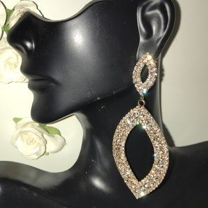 ROSE GOLD TEARDROP PROM PAGEANT WEDDING EARRING